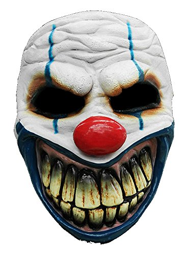 Clown Maske des Grauens aus Latex - Erwachsenen Horror-Clown Kostüm Maske - ideal für Halloween, Karneval, Motto- & Grusel-Party