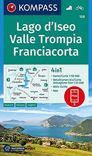 KOMPASS Wanderkarte Lago d'Iseo, Valle Trompia, Franciacorta: 4in1 Wanderkarte 1:50000 mit Aktiv Guide und Detailkarten inklusive Karte zur offline ... (KOMPASS-Wanderkarten, Band 106)