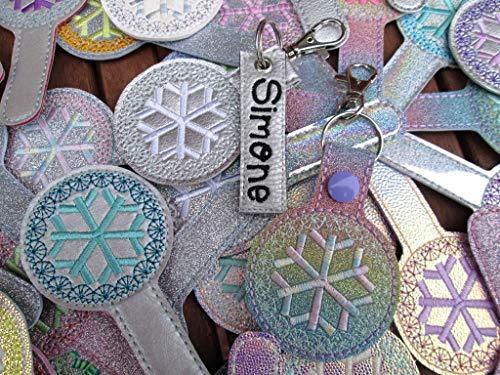 SCHNEEFLOCKE personalisierbar mit Name Snowflake Schlüsselanhänger Taschenanhänger Adventskalender Wichteln