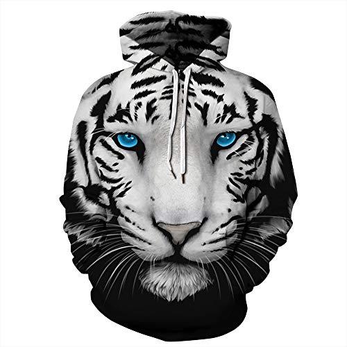 Fansu Herren Damen Kapuzenpullover 3D Hoodie,Unisex Freizeit Kreative Mode Löwe Tiger Druck Sweatshirt Pullover Langarm Paare Hoodies mit Tasche (XXL/XXXL,Weißer Tiger 2)