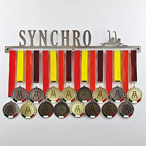 Synchro - Medagliere da Parete - Porta medaglie Nuoto Sincronizzato - Sport Medal Hanger - Display Rack (600 mm x 100 mm x 3 mm)
