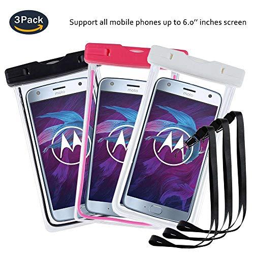 pinlu® 3 Pack IPX8 Wasserdichte Tasche, für Smartphones bis 6 Zoll, für JIAYU S3, Kazam Tornado (348), NOMU S20, Vkworld Mix, Vkworld VK700X, sandproof Protective Shell -Schwarz+Weiß+Rosenrot
