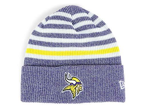 New Era Minnesota Vikings Striped Chill Beanie Hat - NFL Cuff Knit Toque Cap