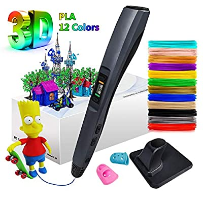 3D Pen, MinSoHi Upgraded 3D Printing Drawing Pen, 12 Colors 120Ft 1.75mm PLA Filament, Smart Temperature Control, 8 Speed Printing Control, Best Birthday Holiday Gifts Toys for Kids, Non-Clogging