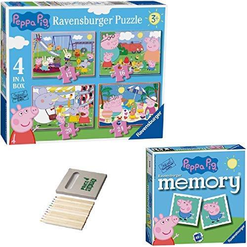 Price Toys Peppa Wutz Puzzle | 4 in einem Kasten (12, 16, 20, 24pc) und Mini-Memory-Spiel (4inbox / Speicher)