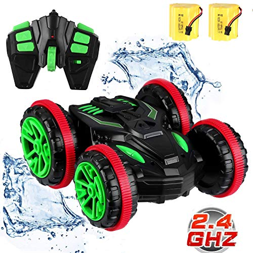 SZJJX Stunt RC Remote Control Cars Boat 4WD 6CH 2.4Ghz Off Road Electric Racing Vehicle 360° Spins & Flips Land Water Multifunction Amphibious Double Sided Tank
