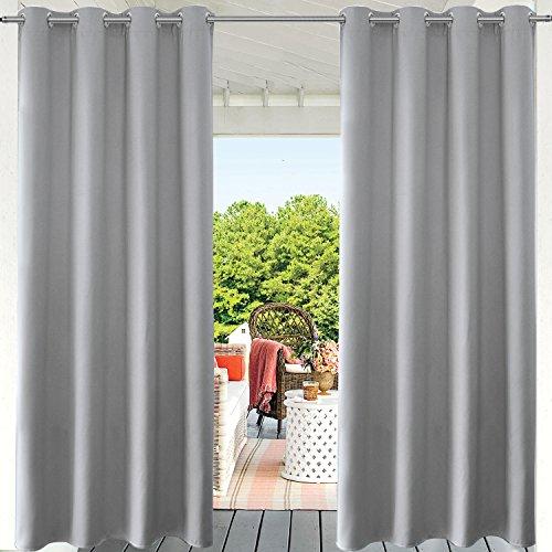 PRAVIVE Graue Verdunkelungsvorhänge für den Innen- und Außenbereich, für Terrasse, wasserdicht, Privatsphäre, Pergola, Vorhänge mit Ösen, 132 x 213 cm, Hellgrau, 1 Packung