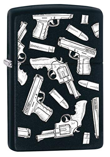 Zippo Lighter: Guns and Bullets Pattern - Black Matte 80508