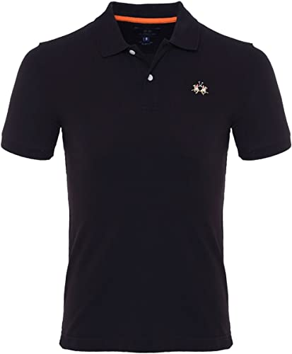 La Martina Hommes Slim fit Pique Polo Shirt Noir