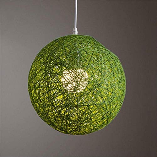Coner Round Concise Handgeweven Rotan Vine Ball Hanglamp Lampenkap Lampenkap Lichtaccessoires, Groen