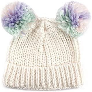 accsa Toddler Kids Girl Warm Rib Knitt Multi-Color Ear Double Pom Pom Beanie Hat Age 3-6Y