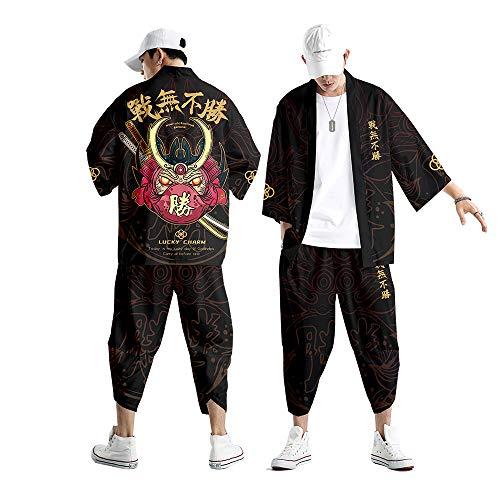 Abito Cardigan Kimono da Uomo,Pantaloni Stile Harem Giapponese Casual,Giacca con Stampa Samurai Creativa Primavera Ed Estate S-6XL,Black-6XL