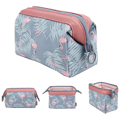 Makeup Bag/Travel Cosmetic Bags/Brush Pouch Toiletry Kit Fashion Women Jewelry Organizer with Zipper Flamingo Make-up Carry Case Pencil Holder Portable Cube Purse (Light Blue)