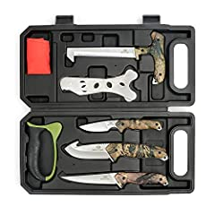 "✅ 8 PIECE BIG GAME FIELD DRESSING KIT in BOX: 8-3/4"" Wood/Bone Saw, Steel Stick/Brisket Spreader, 7.5"" Caping Knife, 9.5"" Gut Hook Skinner, 10"" Boning Knife, Tungsten Carbide V-Sharpener, Red Game Cleaning Gloves ✅ 8.7"" WOOD & BONE SAW: This bone saw..."