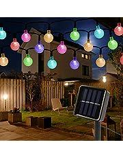 Mitening Lichtsnoer op zonne-energie, voor buiten, 6,5 m, 30 leds, waterdicht, kristallen bol voor tuin, bomen, slaapkamer, kinderkamer, bruiloften, kerstfeesten, energieklasse A+++