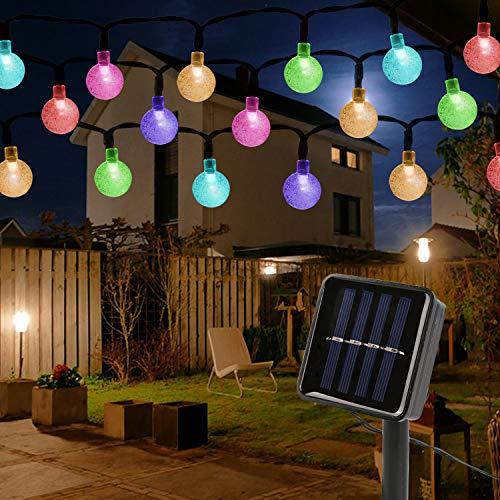 Mitening Solar Lichterkette Aussen, 12M 100 LED Lichterkette Außen Wasserdicht Kristall Kugel für Garten Bäume Schlafzimmer Kinderzimmer Hochzeiten Weihnachten Partys Bunt [Energieklasse A+++]