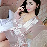 Eroticddmm Ropa de Dormir Mujer Sexy Pajamas Women Thin Ice Silk Appeal Lace Strap Nightdress Two Piece Set 170 (XL) A8008 Pink