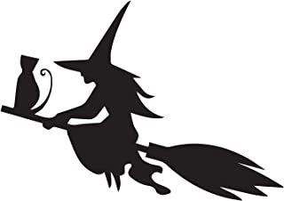 halloween SILHOUETTE OF THE WITCH CAT FLYING ON THE BROOM (BLACK) (set of 2) Premium Waterproof Vinyl Decal Stickers for Laptop Phone Accessory Helmet Car Window Bumper Mug Tuber Cup Door Wall