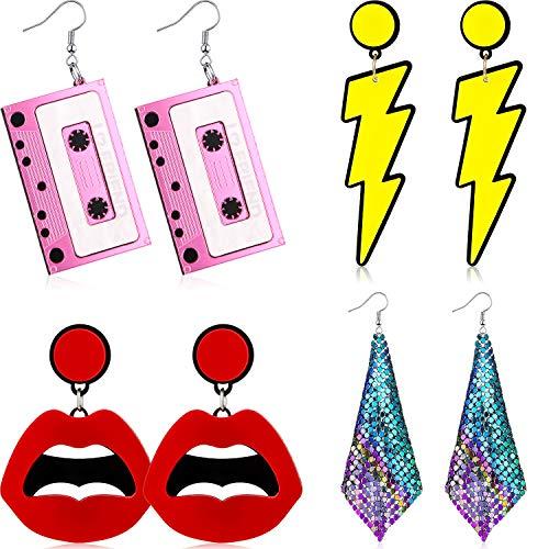 4 Pairs 80s Retro Earrings, Cassette, Lightning, Lips and Pendant