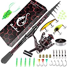 Fishing Rod and Reel Combos, Unique Design with X-Warping Painting, Carbon Fiber Telescopic Fishing Rod with Reel Combo Kit with Tackle Box, Best Gift for Fishing Beginner and Angler (180 Rod)