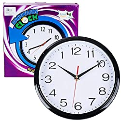 Funny Party Hats 10 Inch Backward Wall Clock - Runs Counterclockwise & Reverse - Funny Birthday Gifts - Office Pranks and Gags