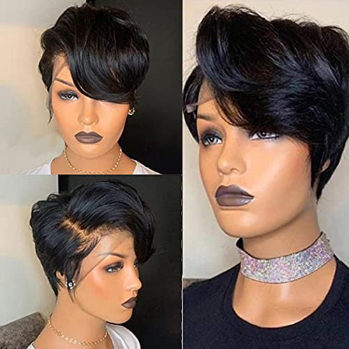 Pixie Cut Wigs for Black Women Msgem 6 inches 13x6x1 T Part Short Lace Front Bob Wig Human Hair Pre Plucked With Baby Hair Natural Hairline 150% Density