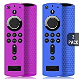 2 Pack Custodia per Telecomando Fire TV Stick 4K/4K Ultra HD con il Nuovo 2a Gen Alexa Voice Telecomando, Leggera Antiscivolo Antiurto Custodia in Silicone per Remote Controller (Viola & Blu)