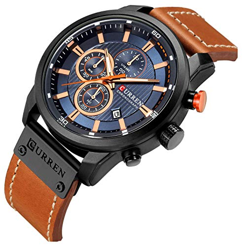 Mens Leather Strap Watches Classic Casual Dress Stainless Steel Waterproof Chronograph Date Analog Quartz Watch (Brown Black)