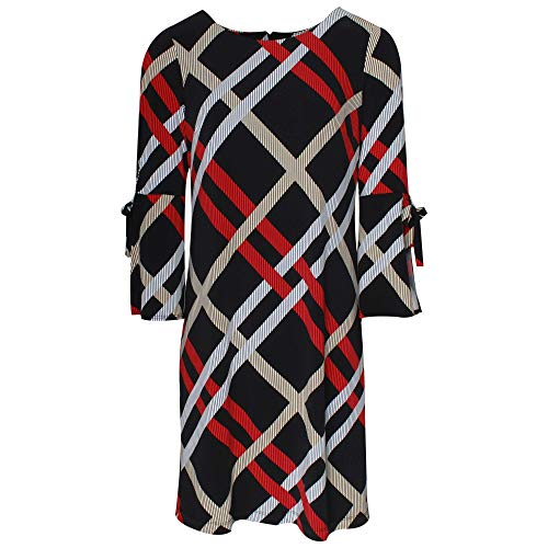 Frank Lyman Long Sleeve Check Dress 10 Black Multi