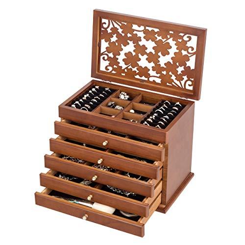 COSTWAY Schmuckkasten mit 5 Schubladen, Schmuckschatulle 6 Ebenen, Schmuckkästchen aus Kiefer, Schmuckkoffer für Ohrringe, Halsketten, Ringe, Schmuckaufbewahrung 30x19×25cm, Schmuckvitrine (braun)