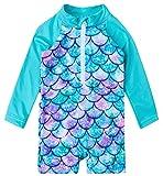 uideazone Newborn Toddler Infant Baby Girl Mermaid Swimsuit Cute Long Sleeve One Piece Swimwear Beach Batching Suit 6-12 Months Blue
