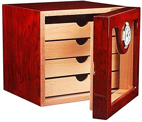 FHISD Caja de Puros Humidor de Puros, humidor de Gran Capacidad con higrómetro y humidificador Caja de Tabaco