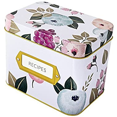 Recipe Box With 24 Cards & 12 Dividers by Polite Society (White Tin)