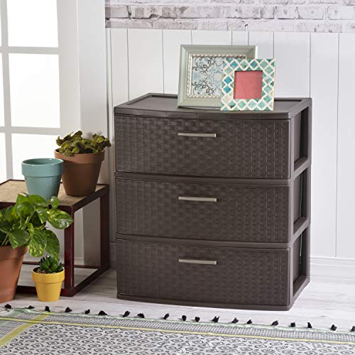 Sterilite 25306P01 3 Drawer Wide Weave Tower