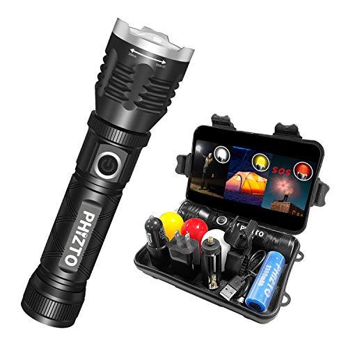 懐中電灯 ledライト 高輝度 軍用 強力 USB充電式 回転式ズーム 5モード フラッシュライト 防災 アウトドア対策 ハンディライト