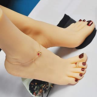 JUYO VONSAN Silicone Lifesize Mannequin Foot Female 1 Pair 8.78 inches for Shoe Sock Jewerly Display Tattoos