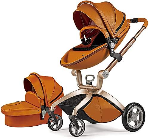 Hot Mom F22 - Cochecito de bebé 3 a 1 cochecito de bebé de piel sintética, piezas reversibles, suspensión en ruedas de poliuretano, diseño 2020 marrón marrón