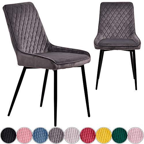 iomangio 2X Esszimmerstühle 2er Set | Dunkel Grau Esszimmerstuhl Küchenstuhl | Polsterstuhl Design Stuhl mit Rückenlehne, mit Sitzfläche aus Samt/Stoffbezug | Gestell aus Metall | Samt Stühle