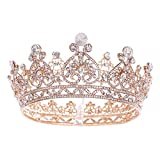 GZQDX Coronas Redondas Grandes de Color Dorado, Tiara barroca, Corona de Cristal, corazón, Accesorios para el Cabello de Boda, Diadema de Princesa y Reina, Adornos Nupciales