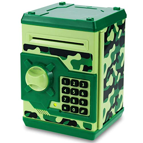 Qwifyu Kids Piggy Bank, Money Bank with Electronic Lock Auto Scroll Paper Money & Coin, Best Toy Gifts for Children Boys Girls (Camouflage Green)