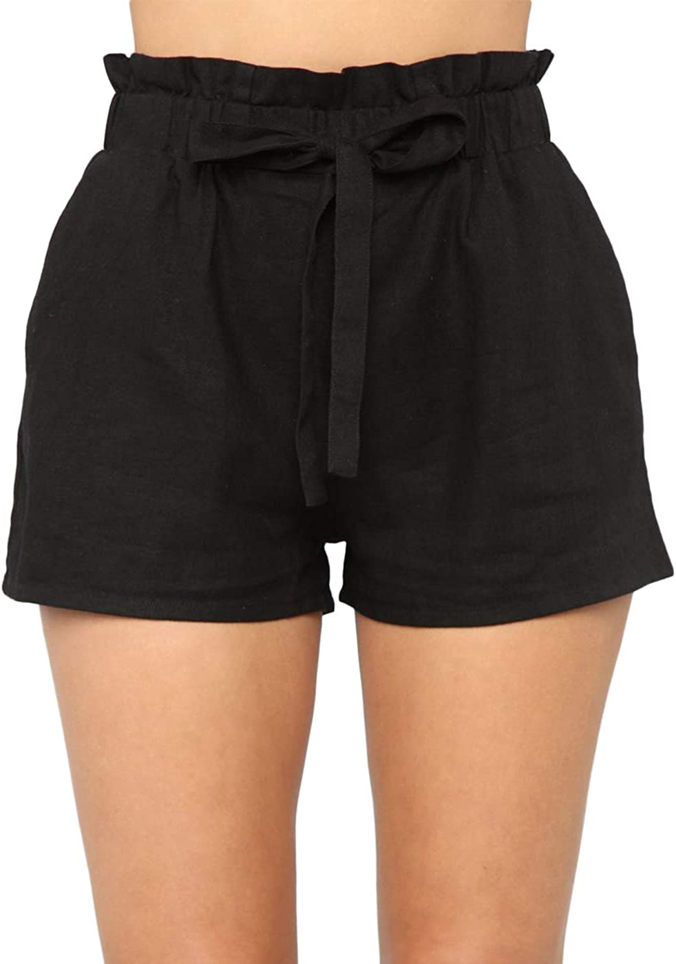 Charlotte Mall Yissang Women's Casual Loose Paper Max 82% OFF Bag with Bow Tie Waist Shorts