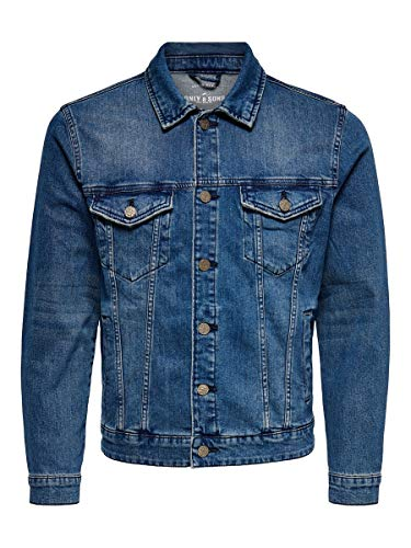 Only & Sons onsCOIN Jacket PK 0451 Noos Giacca in Jeans, Blu (Blue Denim Blue Denim), Large Uomo