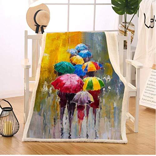 Mantas de paraguas de colores para camas Manta de día lluvioso Impresión de aceite 150X200Cm Ropa de cama de cuatro estaciones