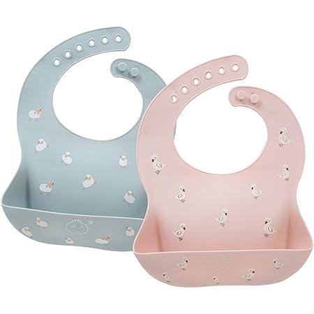 お食事エプロン シリコン エプロン ベビー ビブ 赤ちゃん 柔らかい よだれかけ 防水 軽量 ビブ おおきな 受け皿 0~3歳子ども サイズ調整 持ち運び 清潔易い (羊&ダック)
