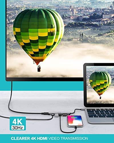 LEVIN USB C Hub 7-IN-1 Typ C Hub mit 100 W PD-Stromversorgung, 4K UHD USB C zu HDMI, 2 USB 3.0-Anschlüsse, SD/microSD/TF-Kartenleser, USB C Adapter kompatibel für MacBook, iPad Pro,Laptops
