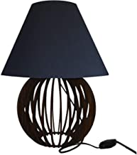 Abajur Luminaria De Madeira Bola Ideal Para Leitura Estudo cúpula Preta