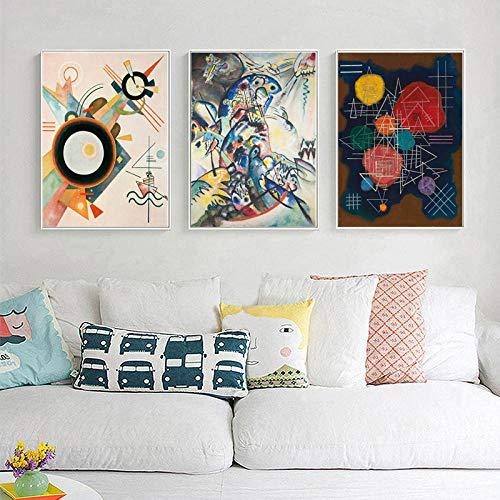 Geometría Abstracta Minimalista Lienzo Carteles Impresiones Wassilies Kandinskies 3 Panel Arte De La Pared Pintura Imagen Decorativa Decoración Del Hogar 50 * 70cm*3