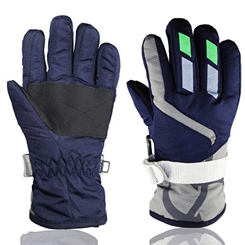 Lovely Ski Gloves Winter Outdoor Snow Warm Mitten for Kids Boys and Girls (1-4 Years) (Navy Blue, M(6-8 Years))