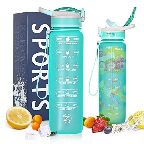 ZOMAKE Bouteille d'eau de motivation de 1 l avec paille et marquages de temps, étanche et sans BPA, infuseur à fruits pour le fitness et le sport