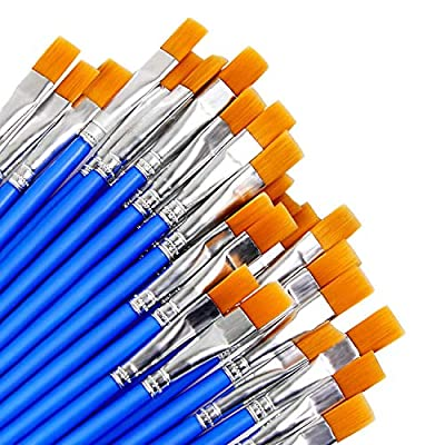 9mm Wide Flat Paint Brushes Set with Nylon Hair,Small Brush Bulk for Detail Painting,Short Plastic Handle,Acrylic Oil Watercolor Fine Art Painting for Kids,Students,Starter,Teens, Adults, Artis